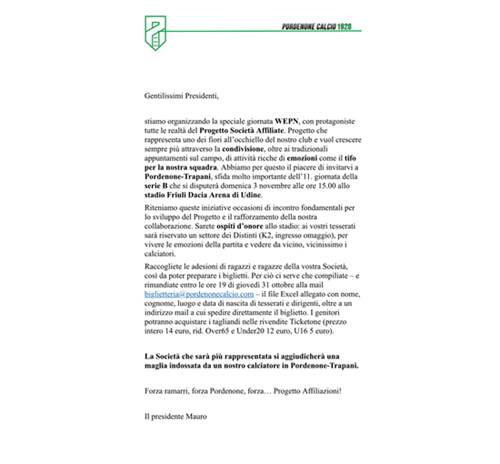 Importante Iniziativa Pro Romans Medea e Pordenone Calcio