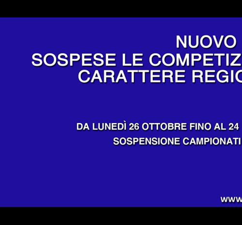 NUOVO DPCM: SOSPESI I CAMPIONATI FINO AL 24 NOVEMBRE. ALLENAMENTI CONSENTITI IN FORMA INDIVIDUALE