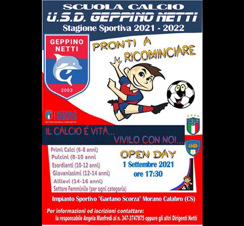 PRONTI A RICOMINCIARE... Aperte le iscrizioni per la Scuola Calcio U.S.D. Geppino Netti